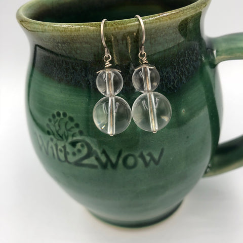 Clear Quartz Sterling Silver Chakra Earrings