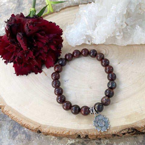 Red Jasper Sunflower Bracelet