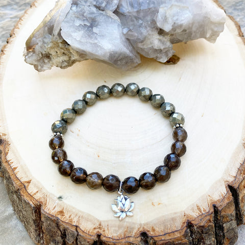 Smokey Quartz and Pyrite Lotus Flower Bracelet