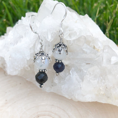 Rainbow Moonstone and Iolite Earrings