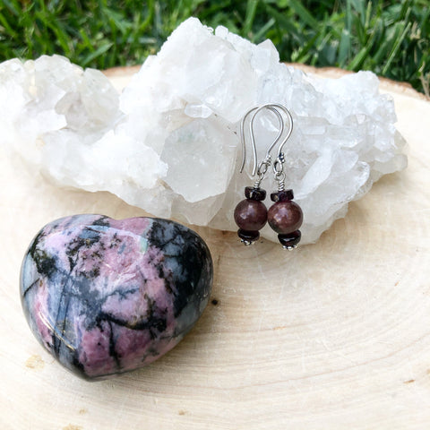 Rhodonite and Garnet Sterling Silver Earrings