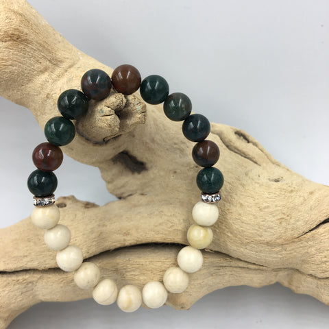 Bloodstone and River Rock Crystal healing bracelet