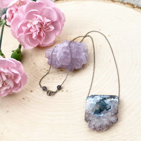 Stalactite Amethyst Slab Necklace on Sterling