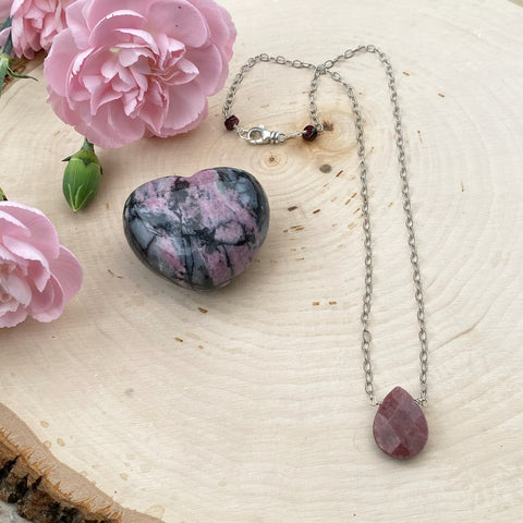 Rhodonite and Garnet Sterling Silver Necklace