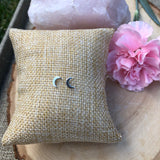 Crescent Moon Sterling Silver Stud Earrings