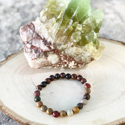 Picasso Jasper and Ebony Wood Bracelet