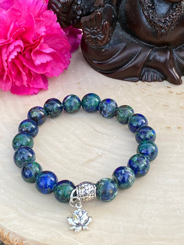 Azurite / Malachite Lotus Flower Bracelet