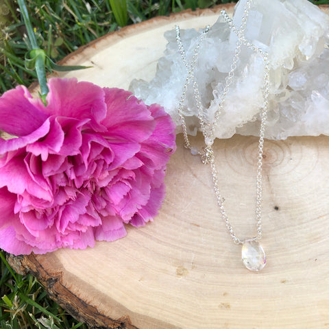 Clear Quartz Crystal Healing necklace on Sterling Silver