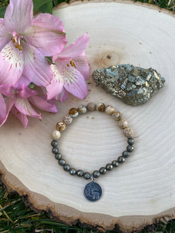 Picture Jasper and Pyrite with a Sterling Silver Charm