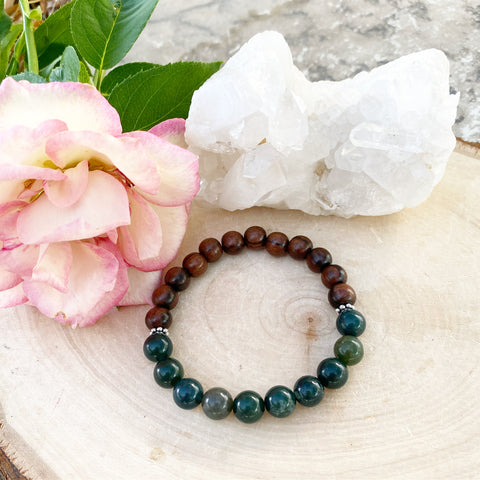 Green Moss Agate and Wood Chakra Aligning Bracelet