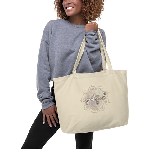 "Large organic ""Grateful"" tote bag"