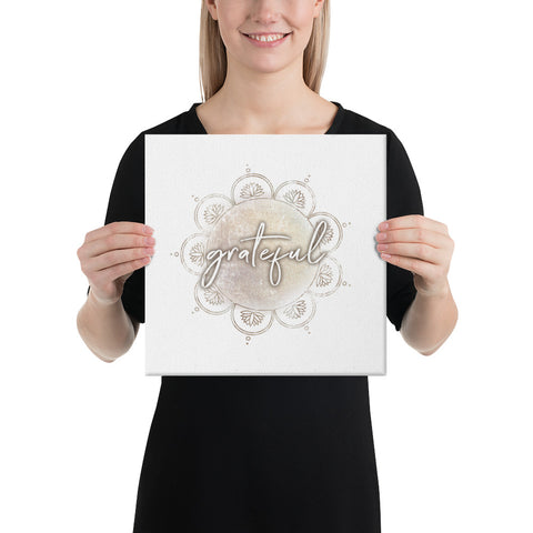 Grateful Mandala Canvas Wall Art