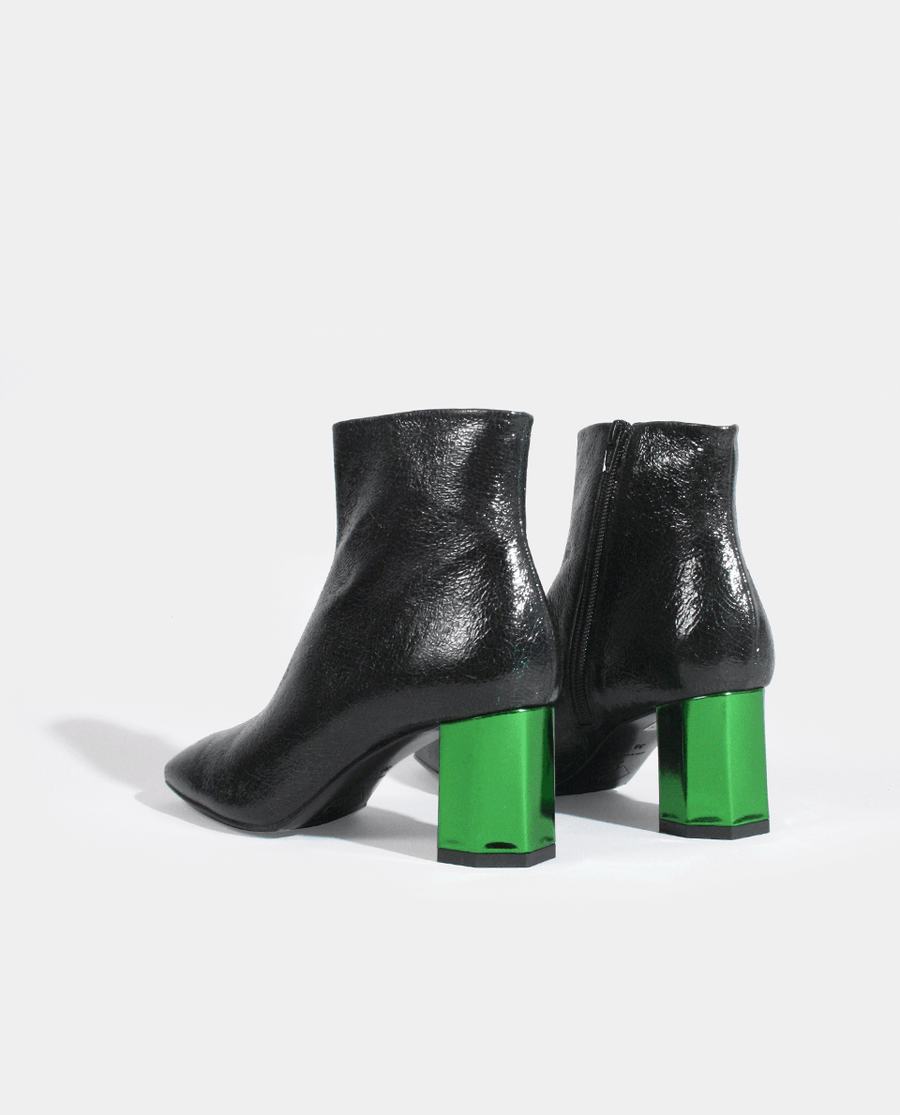 BOTTINES BOOTS FEMME TALON MOYEN BOUT CARRÉ CUIR VERT FONCÉ CRAQUELÉ GORDANA DARK GREEN CRACKED LEATHER SQUARE TOE MID HEEL WOMAN BOOTS