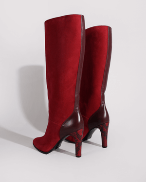 BOTTE TALON FEMME DAIM BORDEAUX ROUGE GORDANA HEEL WOMAN HIGH BOOTS RED BURGUNDY SUEDE LEATHER
