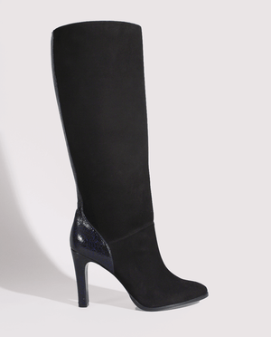 BOTTE TALON FEMME DAIM NOIR CUIR VERNI BLEU CRAQUELÉ GORDANA WOMAN HEEL HIGH BOOTS BLACK SUEDE BLUE CRACKED LEATHER