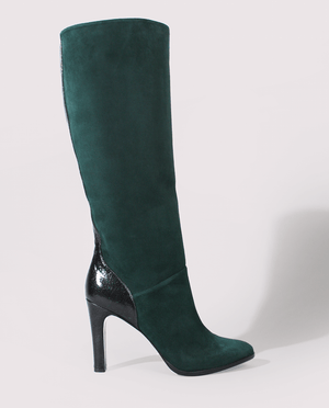 BOTTE TALON FEMME DAIM VERT FORET FONCÉ CUIR VERNI VERT CRAQUELÉ GORDANA WOMAN HEEL HIGH BOOTS DARK GREEN SUEDE GREEN CRACKED LEATHER
