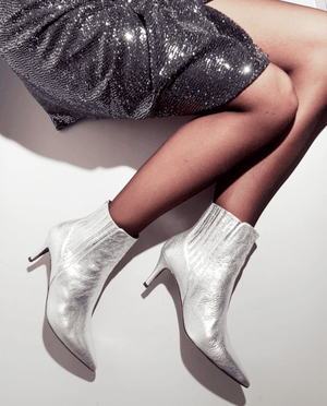 BOTTINES TALON CHELSEA BOOTS HEEL SILVER ARGENT METALISÉ METALIZED CUIR LEATHER GORDANA