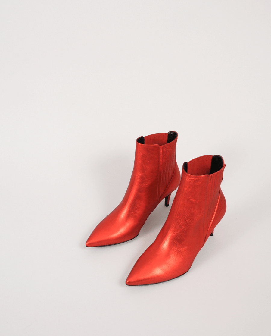 BOTTINES TALON FEMME ROUGE CUIR MÉTALISÉ GORDANA CHELSEA BOOTS RED METALIZED LEATHER POINTED TOE BOUT POINTU