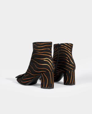 BOTTINES BOOTS FEMME TALON MOYEN LARGE BOUT CARRÉ BOUCLE DAIM NOIR ZÉBRÉ GORDANA MINKA orange streaks print black suede leather boots square toe