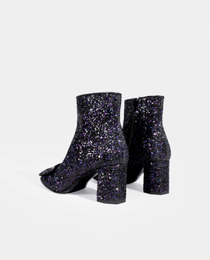 BOTTINES BOOTS FEMME TALON MOYEN LARGE BOUT CARRÉ BOUCLE GLITTER NOIR BLEU VIOLET GORDANA MINKA BLACK GLITTER SQUARE TOE WOMAN BOOTS BUCKLE