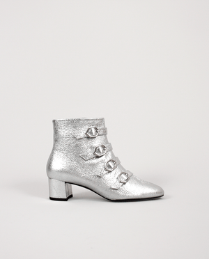 BOTTINES TALON FEMME CUIR ARGENT BOUCLES GORDANA WOMAN SILVER MIDDLE HEEL BOOTS BUCKLES