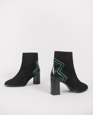 BOTTINES BOOTS FEMME DAIM NOIR CUIR VERT GORDANA WOMAN ANKLE BOOTS BLACK SUEDE LEATHER GREEN