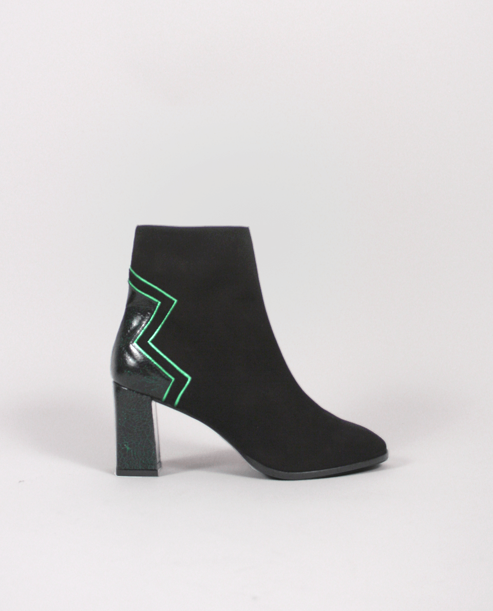 7049f9bc62e1 BOTTINES BOOTS FEMME DAIM NOIR CUIR VERT GORDANA WOMAN ANKLE BOOTS BLACK  SUEDE LEATHER GREEN