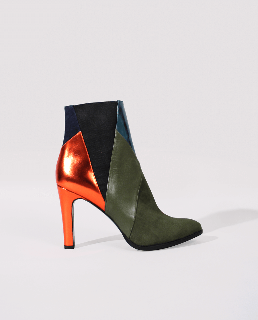 BOTTINES TALON FEMME PATCHWORK CUIR KAKI VERT ORANGE GORDANA HIGH HEEL WOMAN CHELSEA BOOTS KHAKI GREEN ORANGE LEATHER PATCHWORK