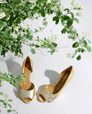 CHAUSSURES DE MARIAGE EN OR BOUT OUVERT ESCARPIN NOEUD GLITTER PAILLETTES GORDANA WEDDING SHOES GOLD GLITTER BOW PUMP