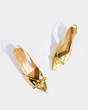 CHAUSSURES MARIAGE LUXE ESCARPIN SLING BACK BOUT POINTU MARIAGE MARIÉE OR GORDANA WEDDING SHOES BRIDESMAID SLINGBACK PUMP GOLD LEATHER