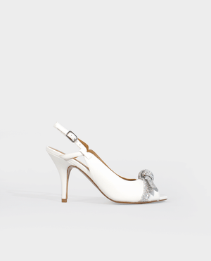 CHAUSSURES MARIAGE LUXE SANDALE A TALON MARIAGE MARIÉE BLANC CUIR GLITTER ARGENT GORDANA WEDDING SHOES BRIDESMAID SANDAL WHITE LEATHER SILVER GLITTER