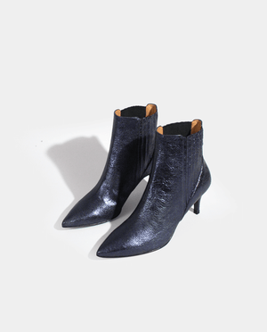 BOTTINES BOOTS FEMME CUIR MÉTALLISÉ GRAINÉ BLEU MARINE FONÇÉ GORDANA WOMAN BOOTS DARK BLUE METALIZED LEATHER