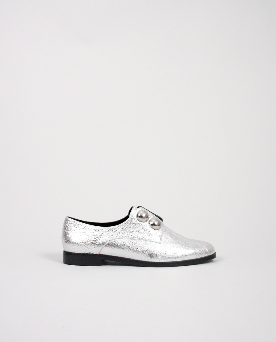 DERBIES FEMME CUIR ARGENT GORDANA WOMEN DERBYS SILVER LEATHER