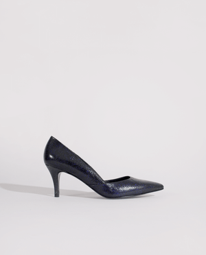 ESCARPIN BOUT POINTU PETIT TALON CUIR CRAQUELÉ BLEU VERNI GORDANA KITTEN HEEL POINTED TOE PUMP CRACKED BLUE LEATHER