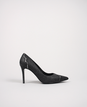 ESCARPIN PUMP POINTU POINTED TOE NOIR GRIS GREY BLACK GORDANA GRAPHIQUE ORIGINAL