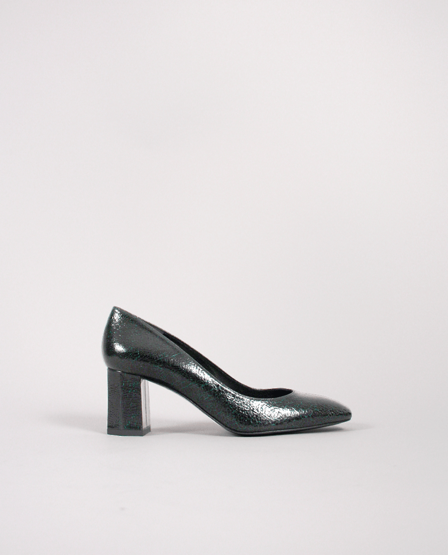 ESCARPIN BOUT CARRÉ CUIR CRAQUELÉ VERT NOIR TALON MOYEN ORIGINAL GORDANA SQUARE TOE MIDDLE HEEL GREEN BLACK LEATHER PUMP