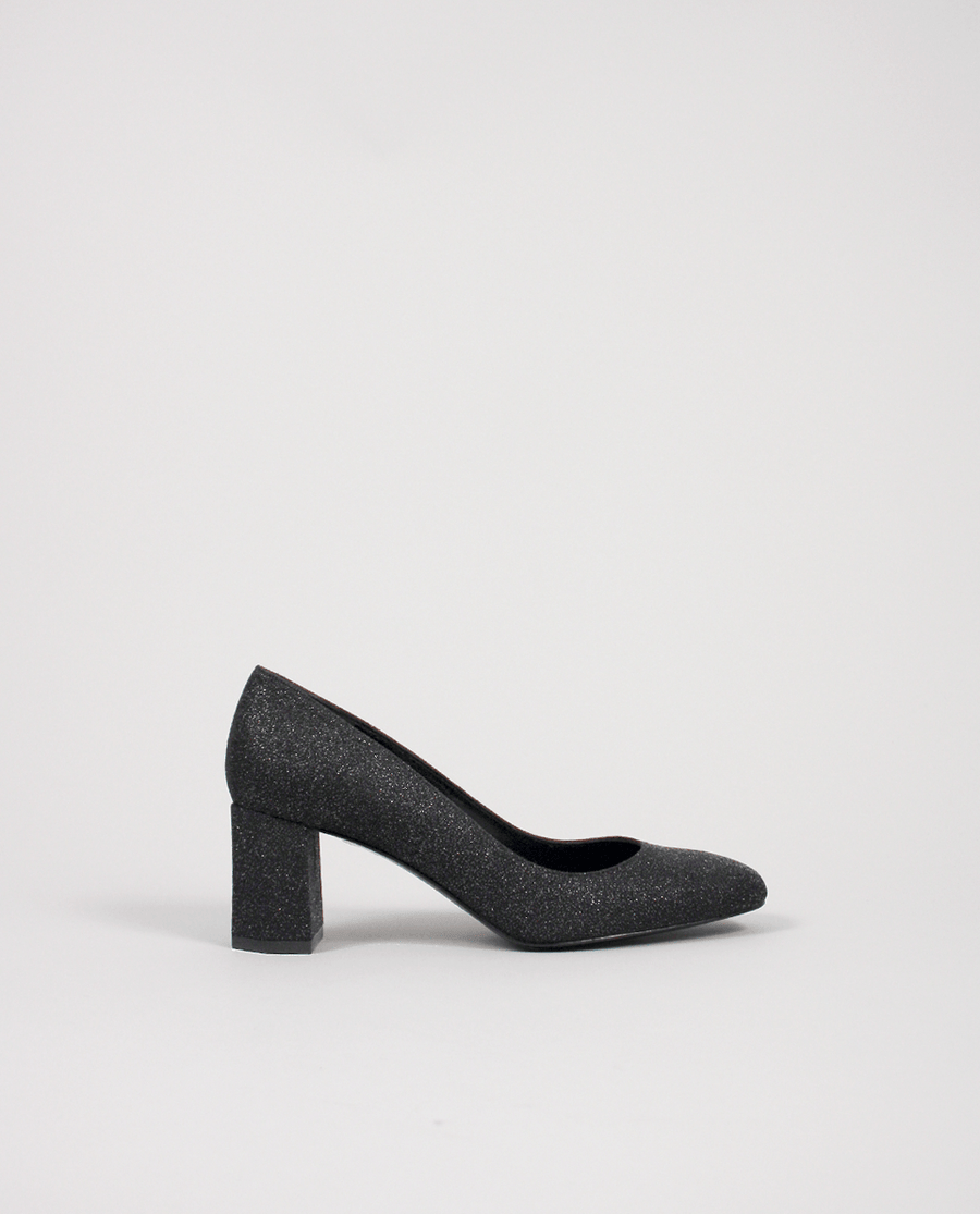 ESCARPIN GRIS NOIR GLITTER CUIR BOUT CARRÉ TALON MOYEN GORDANA PUMP GREY BLACK SQUARE TOE