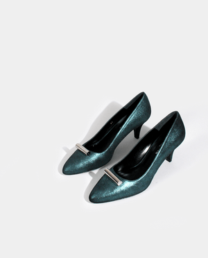 ESCARPIN RETRO PETIT TALON CUIR BLEU VERT PÉTROLE MÉTALLISÉ BIJOU ARGENT GORDANA BLUE GREEN PETROL METALIZED LEATHER KITTEN HEEL RETRO PUMP