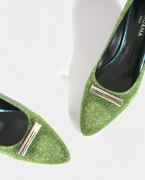 ESCARPIN RETRO PETIT TALON LUREX VERT BIJOU ARGENT GORDANA GREEN LUREX FABRIC KITTEN HEEL RETRO PUMP