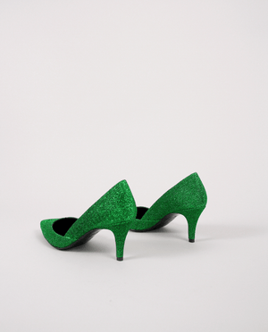 ESCARPIN VERT LUREX BOUT POINTU TALON MOYEN GORDANA LUREX GREEN MIDDLE HEEL POINTED TOE PUMP
