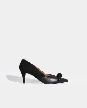 ESCARPIN PETIT TALON BOUT POINTU BI MATIÈRE NOIR DAIM ET CUIR LISSE GORDANA BI MATERIAL BLACK SUEDE SMOOTH LEATHER POINTED TOE KITTEN HEEL