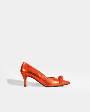 ESCARPIN PETIT TALON BOUT POINTU ORANGE CUIR GORDANA ORANGE LEATHER POINTED TOE KITTEN HEEL PUMP