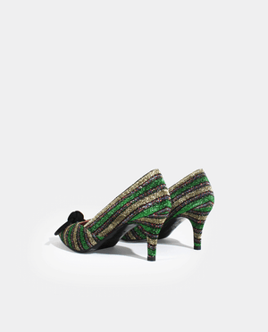 ESCARPIN PETIT TALON BOUT POINTU TISSU LUREX RAYÉ VERT NOEUD GORDANA BOW GREEN STRIPED LUREX FABRIC POINTED TOE KITTEN HEEL PUMP