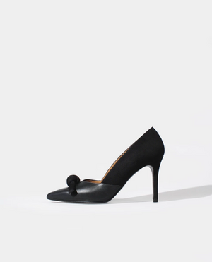 ESCARPIN TALON AIGUILLE BOUT POINTU CUIR LISSE NOIR DAIM NOIR NOEUD GORDANA BOW BLACK SUEDE SMOOTH LEATHER POINTED TOE PUMP
