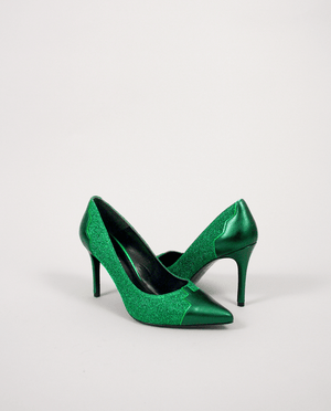 ESCARPIN VERT LUREX CUIR BOUT POINTU GORDANA GREEN LUREX LEATHER PUMP POINTED TOE