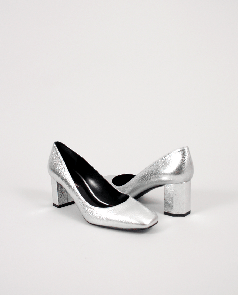 ESCARPIN CUIR ARGENT BOUT CARRÉ TALON MOYEN GORDANA SILVER MIDDLE HEEL SQUARE TOE LEATHER
