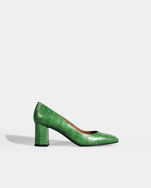 ESCARPIN TALON MOYEN LARGE BOUT CARRÉ CROCO VERT GORDANA GREEN CROCO SQUARE TOE MID HEEL PUMP