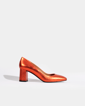 ESCARPIN LOLA EN CUIR MÉTALLISÉ ORANGE