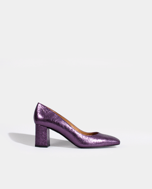 ESCARPIN TALON MOYEN LARGE BOUT CARRÉ CUIR MÉTALISÉ LILAS VIOLET GORDANA PURPLE LILAC METALIZED LEATHER SQUARE TOE MID HEEL PUMP