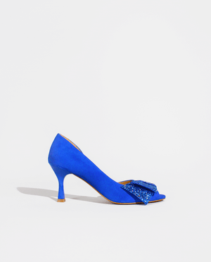 ESCARPIN BOUT OUVERT DAIM BLEU ÉLECTRIQUE CUIR NOEUD GLITTER GORDANA OPEN TOE PUMP ELCTRIC BLUE SUEDE LEATHER BOW BLUE GLITTER